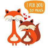 As raposas acoplam-se no amor Cartão engraçado do dia do ` s do Valentim ilustração royalty free