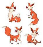 As raposas ajustaram desenhos animados ilustração do vetor