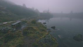 as reflexões das árvores no lago molham na névoa da manhã - vin Foto de Stock Royalty Free
