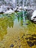 As reflexões do inverno em uma montanha fria fluem, cumes eslovenos Imagens de Stock Royalty Free