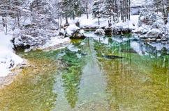 As reflexões do inverno em uma montanha fria fluem, cumes eslovenos Foto de Stock Royalty Free