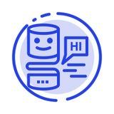 As relações de conversação, de conversação, relação, grande pensam a linha pontilhada azul linha ícone ilustração do vetor