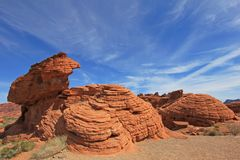 As rochas nomearam sete irmãs, vale do parque estadual do fogo, EUA Imagens de Stock