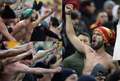 AS Roma football fans - collage Royalty Free Stock Image