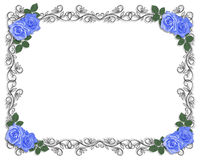 As rosas azuis Wedding limitam o preto Fotos de Stock Royalty Free