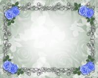 As rosas azuis Wedding limitam o preto Imagem de Stock