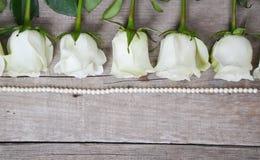 As rosas brancas situadas na linha da pérola perlam no fundo de madeira fotos de stock