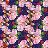 As rosas vector o teste padrão sem emenda Obscuridade floral - backgrou azul do vintage Fotografia de Stock