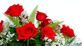 As rosas vermelhas bonitas arranjaram com respiração branca do ` s do bebê para Valent foto de stock royalty free