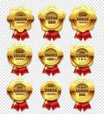 As rosetas certificadas douradas, ouro verificam símbolos e grupo do vetor dos selos da garantia ilustração royalty free