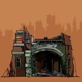 As ruínas da casa velha desmoronada com a hera Imagem de Stock