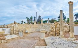 As ruínas de Roman Amphitheatre, Alexandria, Egito fotografia de stock