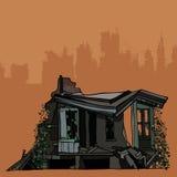 As ruínas de uma casa velha coberto de vegetação com a hera Imagem de Stock