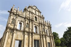 As ruínas do ` s de St Paul em Macau Fotos de Stock Royalty Free