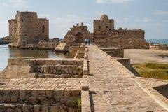 As ruínas dos cruzados fortificam em Sidon & em x28; Saida& x29; Imagens de Stock Royalty Free