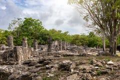 As ruínas maias de San Gervasio na ilha de Cozumel fotografia de stock