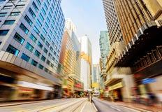 As ruas de Hong Kong, borrão de movimento fotos de stock
