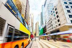 As ruas de Hong Kong, borrão de movimento imagens de stock