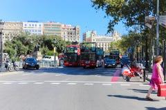 As ruas de povos da velocidade de obturador de Barcelona Foto de Stock