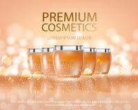 As séries da beleza dos cosméticos, anúncios do corpo superior pulverizam o creme para cuidados com a pele Molde para o cartaz do ilustração do vetor