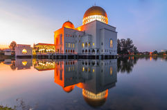 As-salam mosque reflection. This floating mosque located at puchong, selangor, malaysia Royalty Free Stock Photos