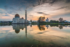 As-salam Mosque sunrise. Sunrise at As-salam mosque Puchong, Selangor, Malaysia Stock Images