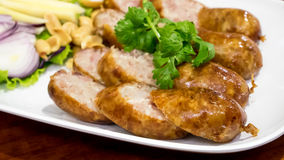 As salsichas fermentadas tailandesas deliciosas Sai Krok Isan de do nordeste Fotografia de Stock Royalty Free