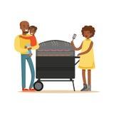 As salsichas novas do churrasco da mulher negra em uma grade para sua família vector a ilustração Foto de Stock Royalty Free