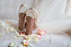 as sapatas brilhantes do ouro em um tule claro nas pétalas cor-de-rosa suportam Fotografia de Stock Royalty Free