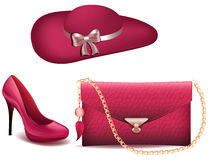 As sapatas das mulheres e a bolsa do vintage do chapéu franzem da forma branca da patente do fundo do vetor dos acessórios as sap Foto de Stock