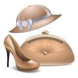As sapatas das mulheres e a bolsa do vintage do chapéu franzem o fundo do branco do vetor dos acessórios Fotos de Stock Royalty Free