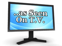 As seen on TV. Text as seen on tv on a tv monitor, concept of advertisement in other media supported by television ads Royalty Free Stock Photo