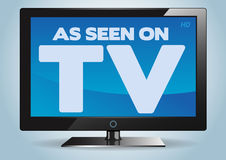 As seen on TV. A flat television screen with text message 'as seen on TV' on screen in white uppercase letters on blue background royalty free illustration