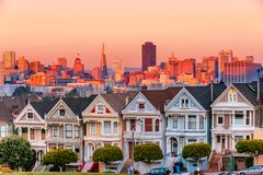 As senhoras pintadas de San Francisco, Califórnia fotografia de stock