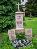 As sepulturas da família de Mozart na cidade de Salzburg em Áustria foto de stock