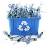 As seringas no azul reciclam a caixa - conceito 3D waste médico ilustração royalty free
