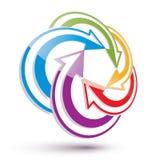 As setas abstraem o molde conceptual do símbolo, vetor 3d Fotografia de Stock Royalty Free
