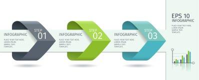 As setas de Infographic com intensificam opções Molde do vetor no estilo liso do projeto Fotografia de Stock
