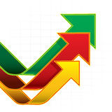 As setas representam graficamente o fundo branco Foto de Stock Royalty Free