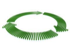 As setas verdes deram forma pelo ser humano 3d estilizado Foto de Stock