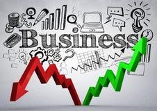 As setas vermelhas e verdes com negócio preto rabiscam contra a parede branca ilustração royalty free