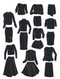As silhuetas de ternos do ` s das mulheres ilustração royalty free