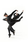 As silhuetas do homem de dois hip-hop e dos dançarinos fêmeas da ruptura que dançam no fundo branco Foto de Stock Royalty Free