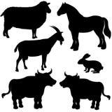Silhuetas do vetor dos animais de exploração agrícola Fotografia de Stock Royalty Free