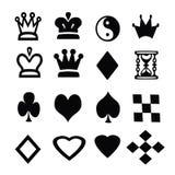 As silhuetas dos caráteres dos jogos de mesa em um fundo branco Imagens de Stock Royalty Free