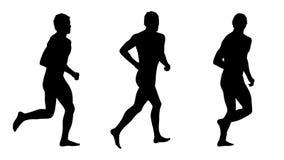 As silhuetas running do homem ajustaram 3 Imagens de Stock Royalty Free