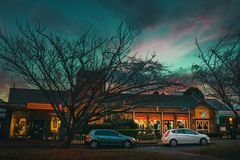 Cars and sunset. At the blue mountains of Sydney stock images
