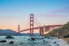 As the sun goes down, enjoy the best view of the Golden Gate Bridge of San Francisco stock images