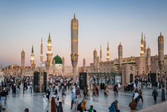 As the sun rises Muslims gathered for worship Nabawi Mosque, Med Royalty Free Stock Images