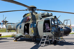 AS332 Super Puma helicopter. BERLIN, GERMANY - MAY 22: Swiss Air Force AS332 Super Puma transport helicopter at the International Aerospace Exhibition ILA on May Royalty Free Stock Photo